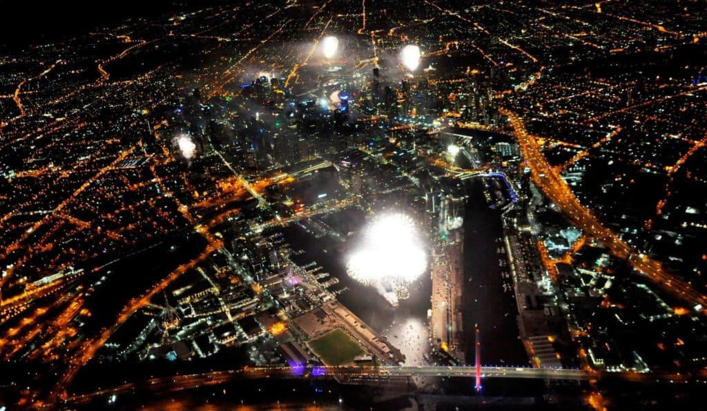 Flying over Fireworks display Melbourne NYE 2016