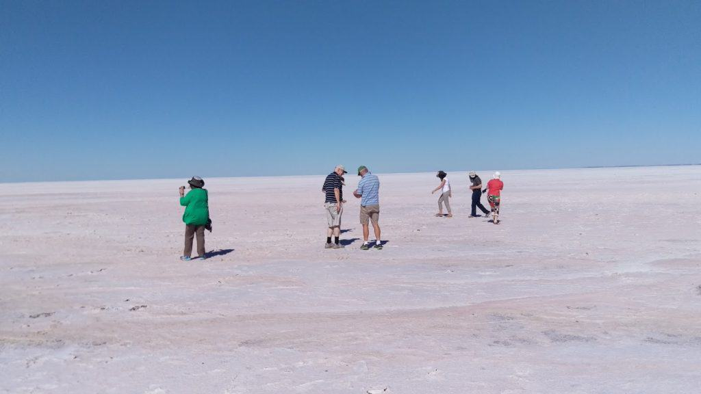 Group walking on Lake Eyre Salt Crust 5/16