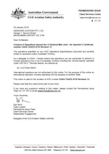 AOC Certificate 25 Jan 2018 ARN400017