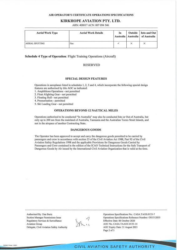 AOC2020 1916 KIRKHOPE AVIATION PTY. LTD. ARN 400017 CASA.TAOS.0133 Revision 7 Page 2