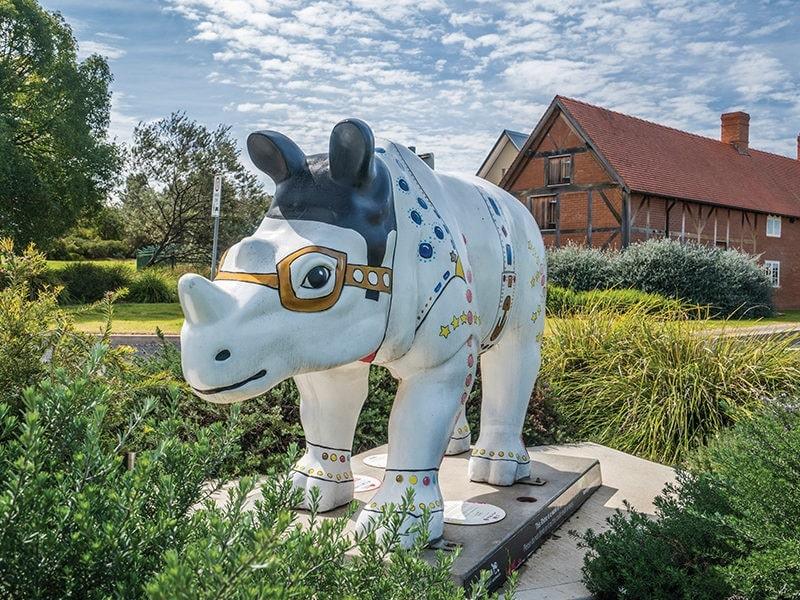 Elvis 'the Rockin' Rhino Sculpture CR Destination NSW