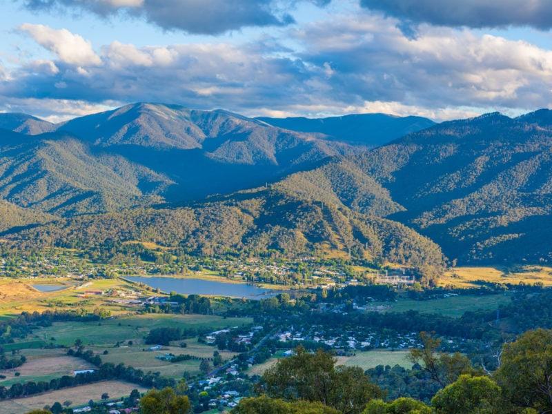 Aerial View Of Mount Beauty Town And Pondage. Kiewa Valley, Victoria, Australia